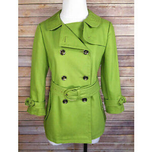 Coach Lime Green Double Breasted Belted Pea Coat